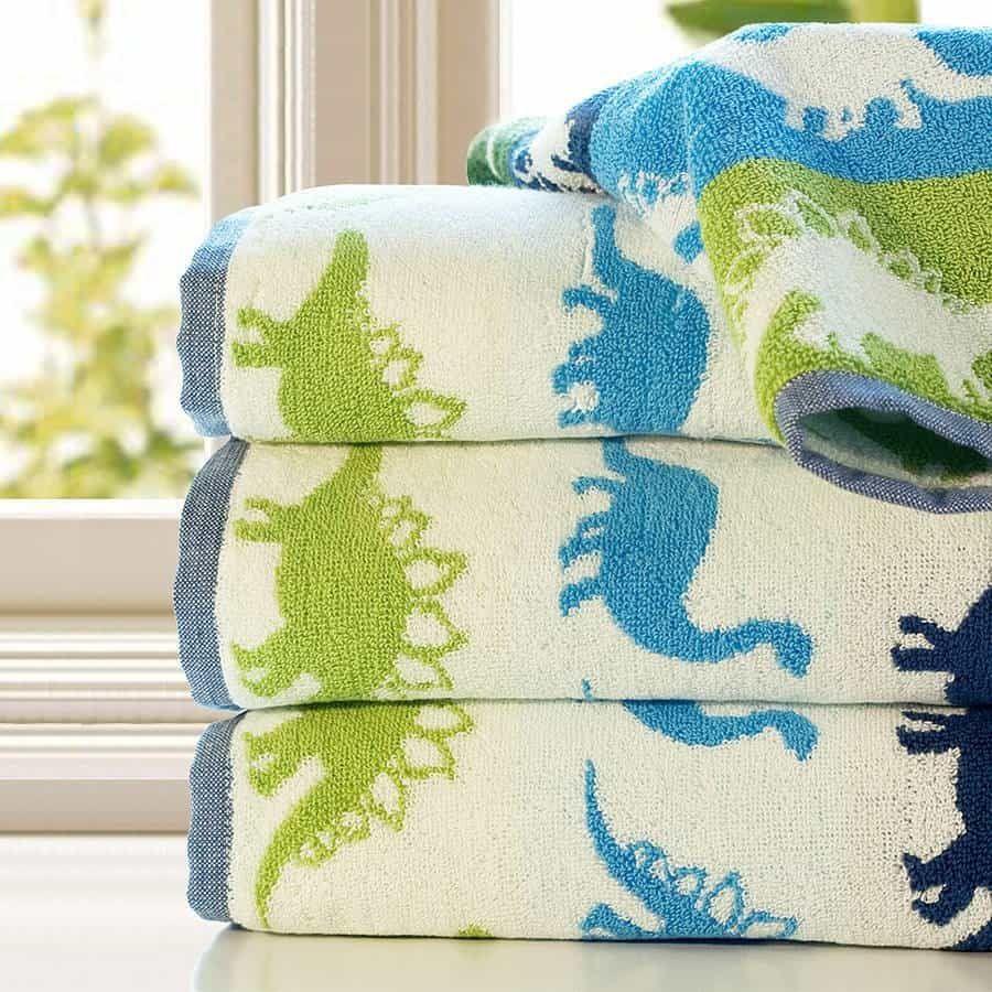 Bathroom Set Towel Kids Blue Green Dinosaur Towel Set Dinosaur