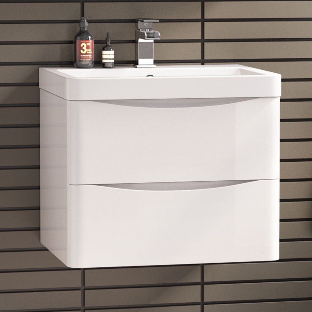 600mm Austin Ii Gloss White Built In Wall Hung Basin Drawer Unit