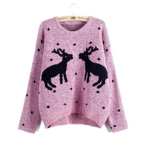 Womens-Christmas-Deer-Snow-Embroidery-Sweaters-Knitted-Jumpers-Pink