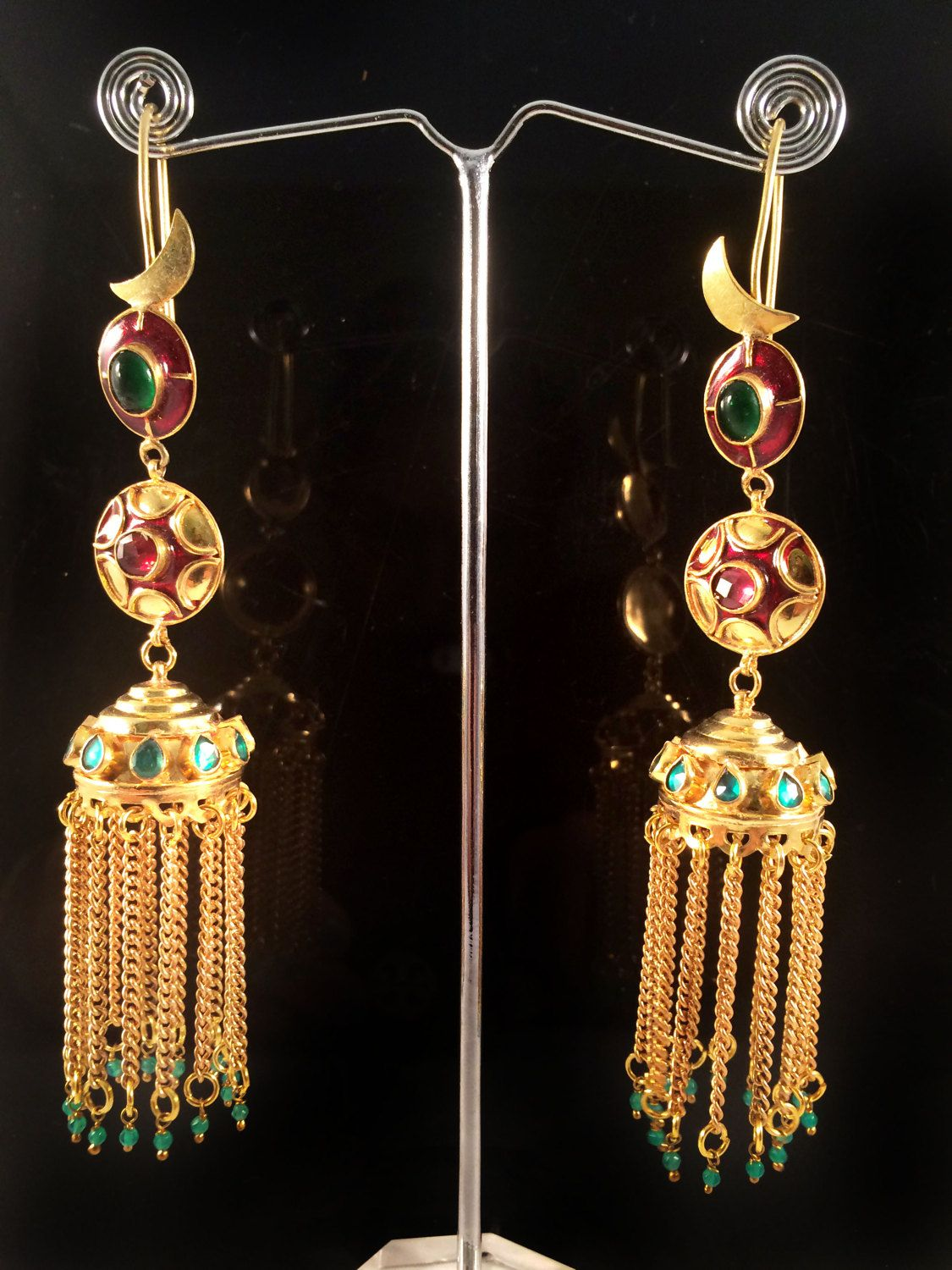 Long Gold JHUMKAS,Kundan red gold green tassel earrings,Ethnic ...