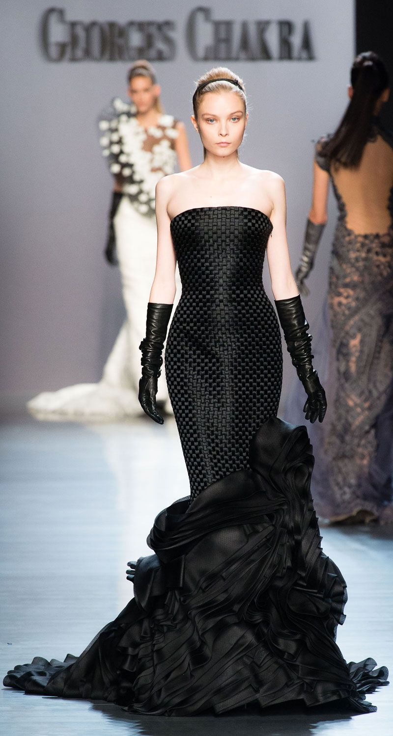 Black gloves for gown - Georges Chakra Couture Runway Black Gown And Long Gloves Pinned By Dauphine