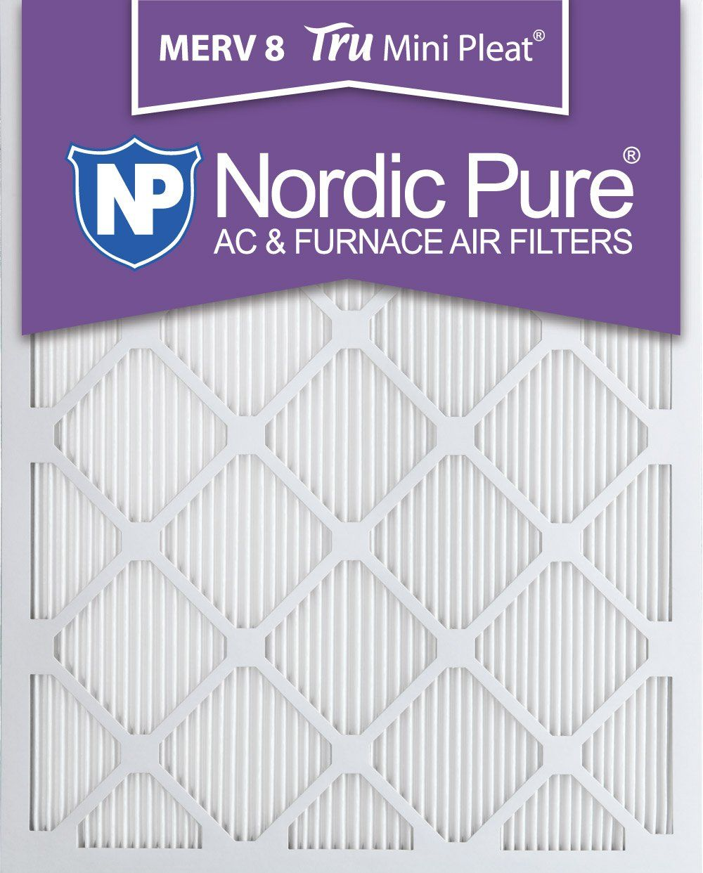 Nordic Pure 16x25x1 MERV 8 Tru Mini Pleat AC Furnace Air