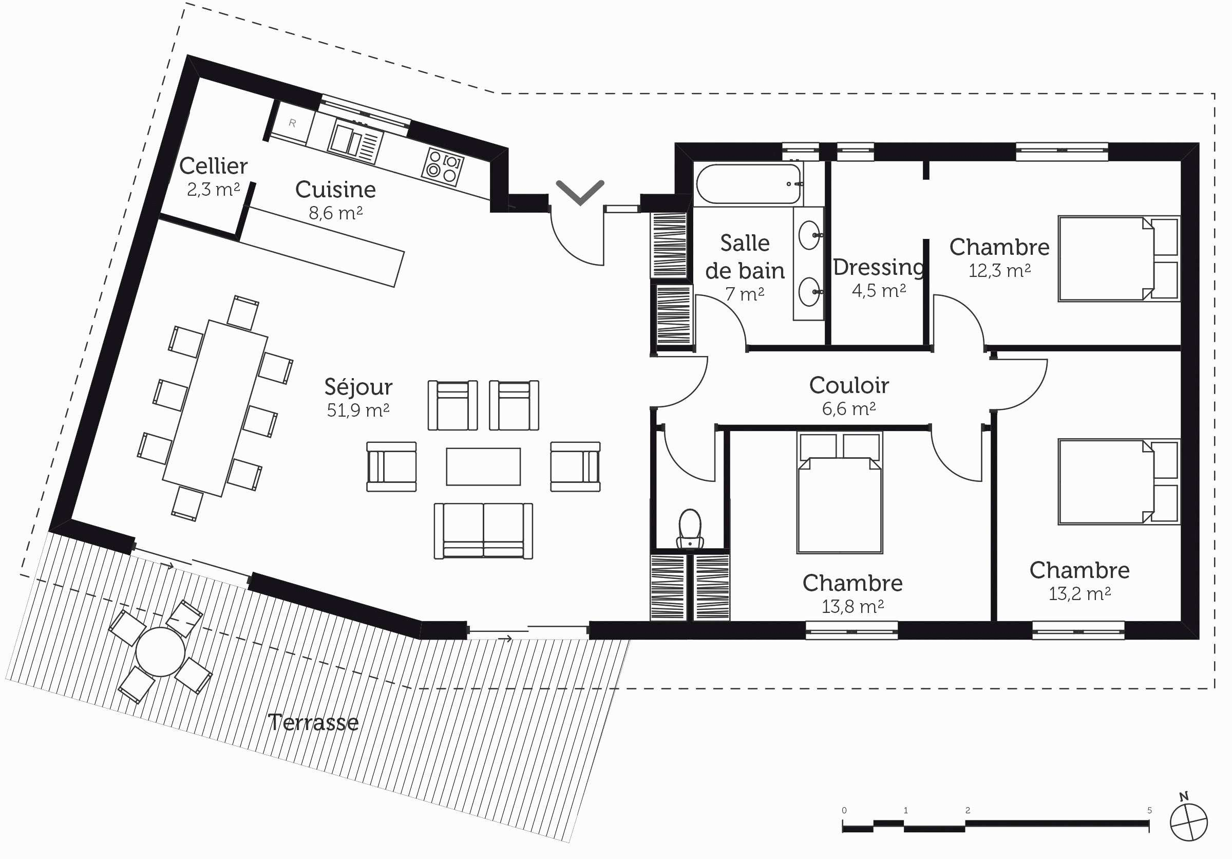 Awesome Plan Maison 100m2 Plein Pied 3 Chambres In 2021 House Plans How To Plan House Design