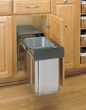 Rev A Shelf Double Pull Out Under Sink Waste Container I Like The Smaller Size Bins With Room On Top For Storage Or Small Compost Bin