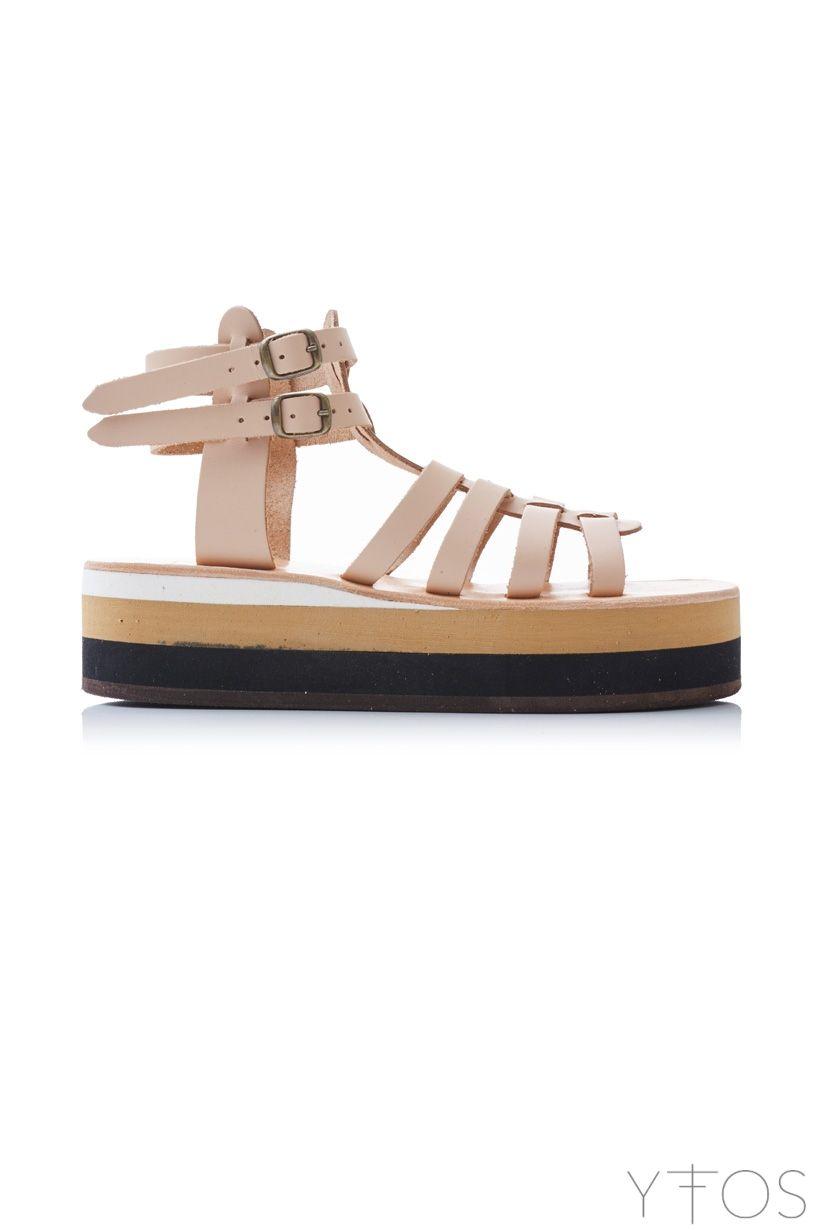 d6877cbc9040 Aplitis  Nude Beige Flatform Gladiator Sandals