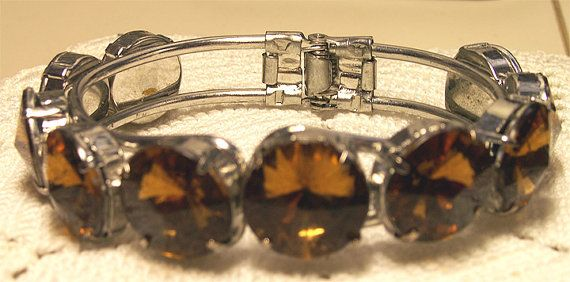 Vintage BRACELET with Amber Rhinestones by ClothesClosetBoutiq, \