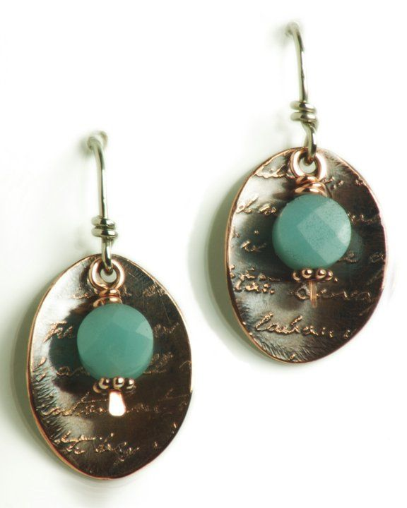 Etched Copper w/ Amazonite drop.