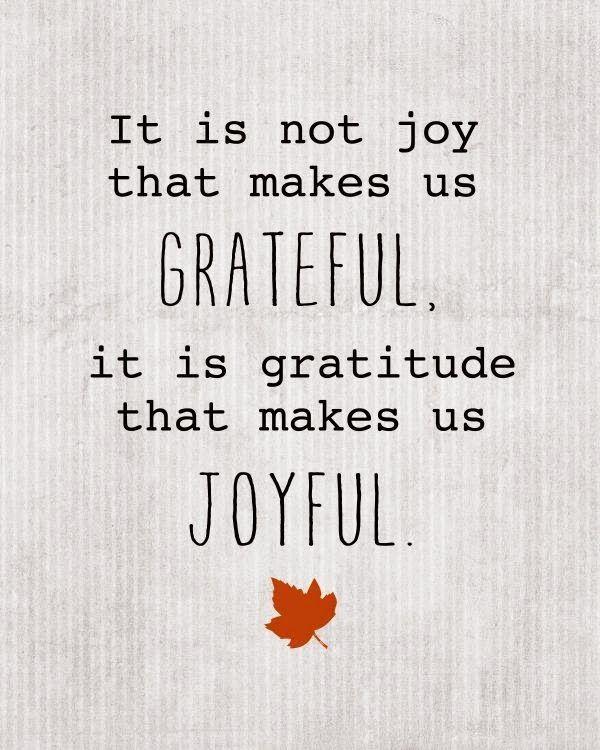It is not joy that makes us grateful, it is gratitude that makes us joyful. thedailyquotes.com