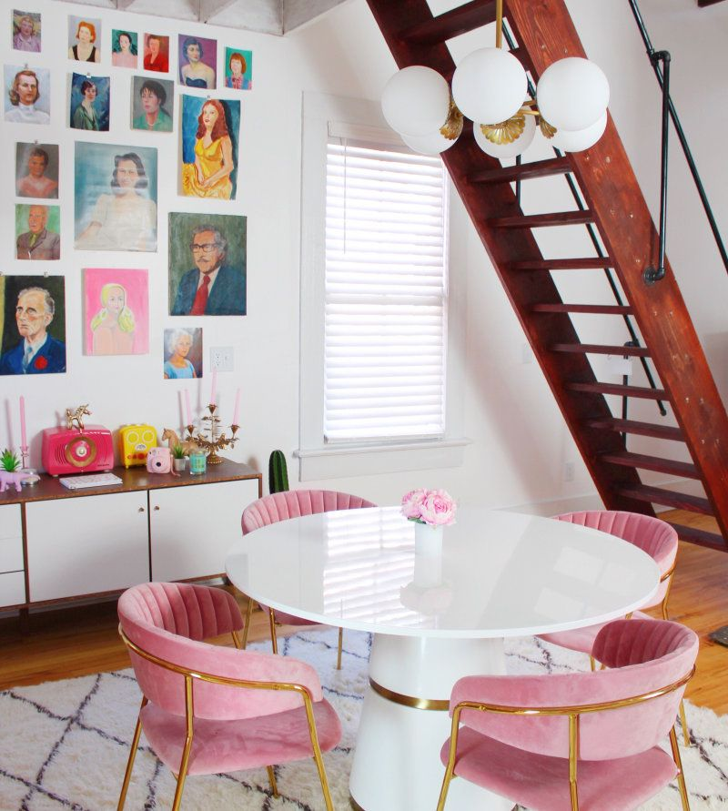 Tour a Colorful Airbnb Designed by Blogger and Instagrammer Sophie Loghman is part of Pink dining rooms - Sophie Loghman's rainbowinfused airbnb in Atlanta's Cabbagetown neighborhood is an homage to colorful living  Step inside her candycolored paradise  Warning You'll never want to leave after you see the pink fridge