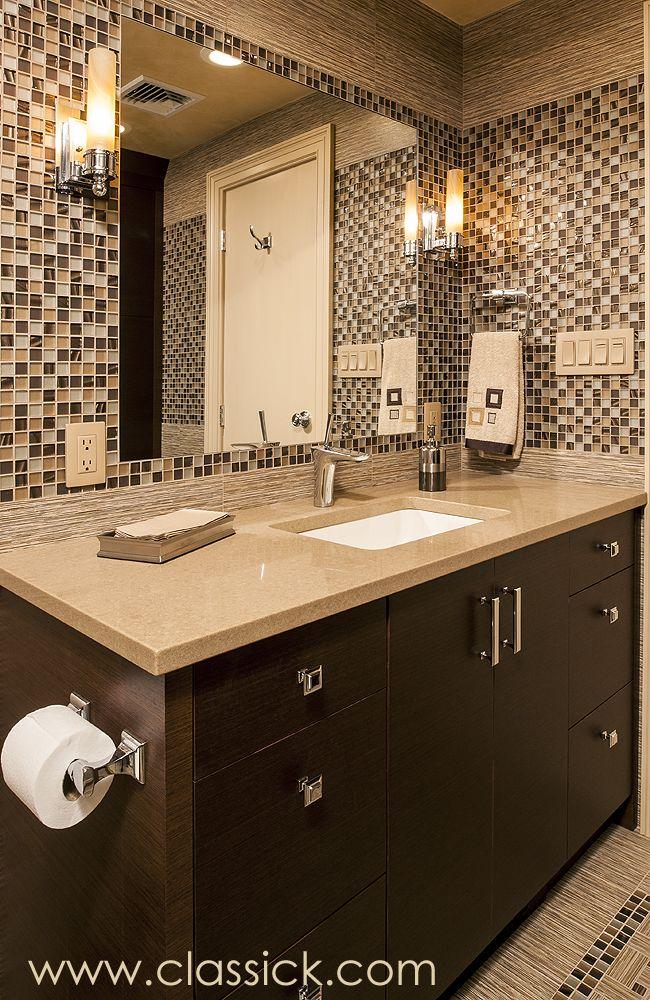 Brown Beige Three Quarter Bathroom Custom Bathroom Vanity