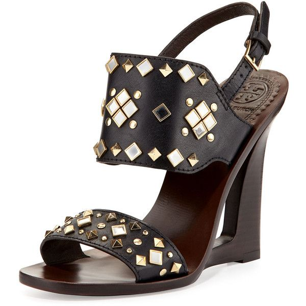Tory Burch Kingsbridge Studded Open-Wedge Sandal ($470) ❤ liked on Polyvore featuring shoes, sandals, tory navy, navy blue wedge sandals, navy blue sandals, women shoes, wedge heel sandals and wedges shoes