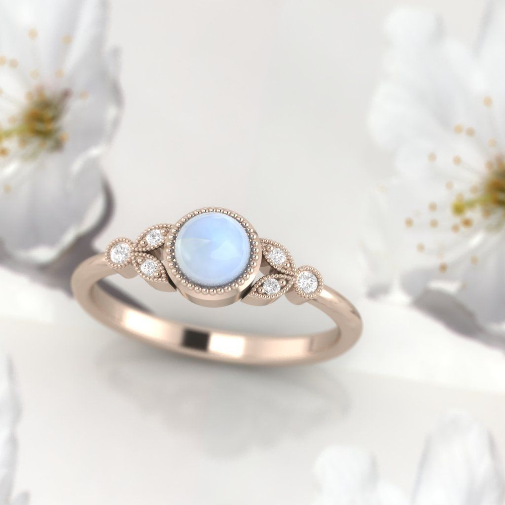 Moonstonering moonstone and diamond ring moonstone engagement