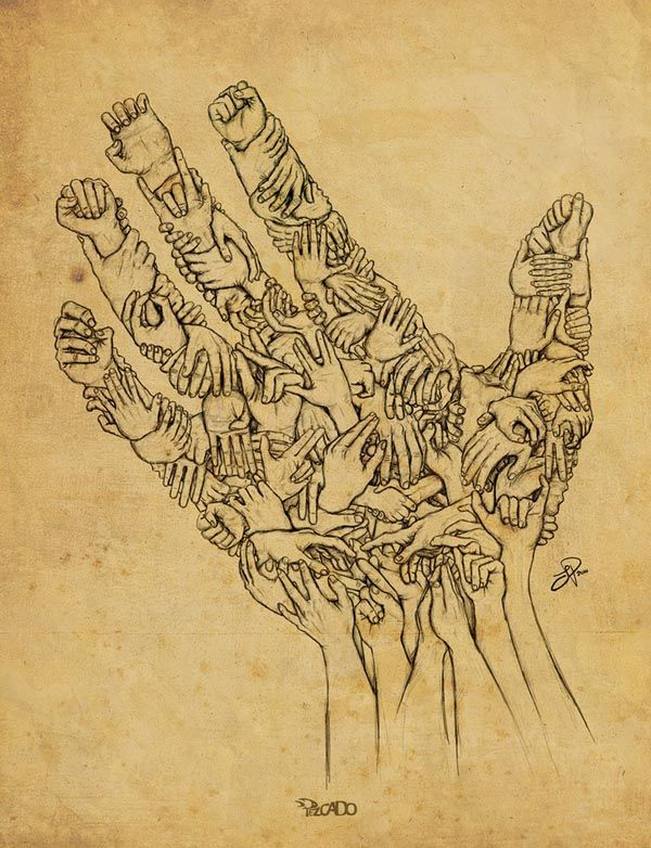 Hands in Hand - Drawing by Pezcado - Julien Poisson