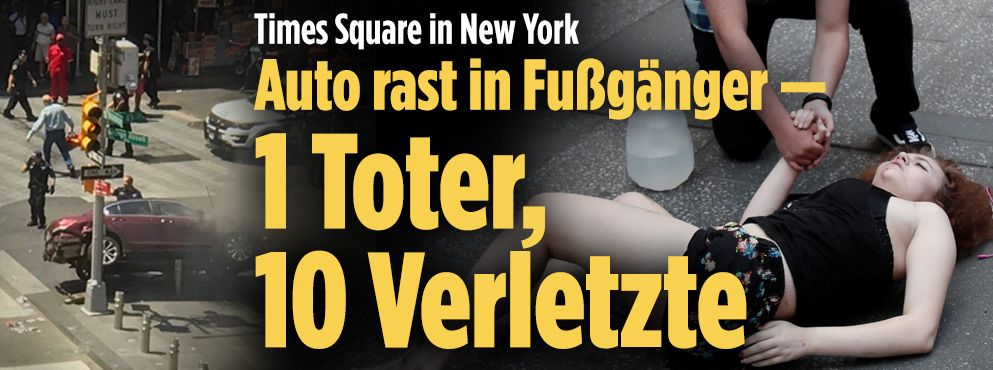 Auto erfasst Fußgänger am Times Square Times square