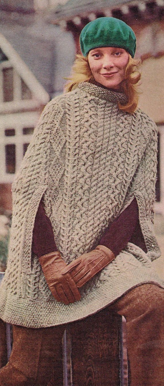 Vintage Womans Knitting Pattern Irish Cape With Traditional Aran