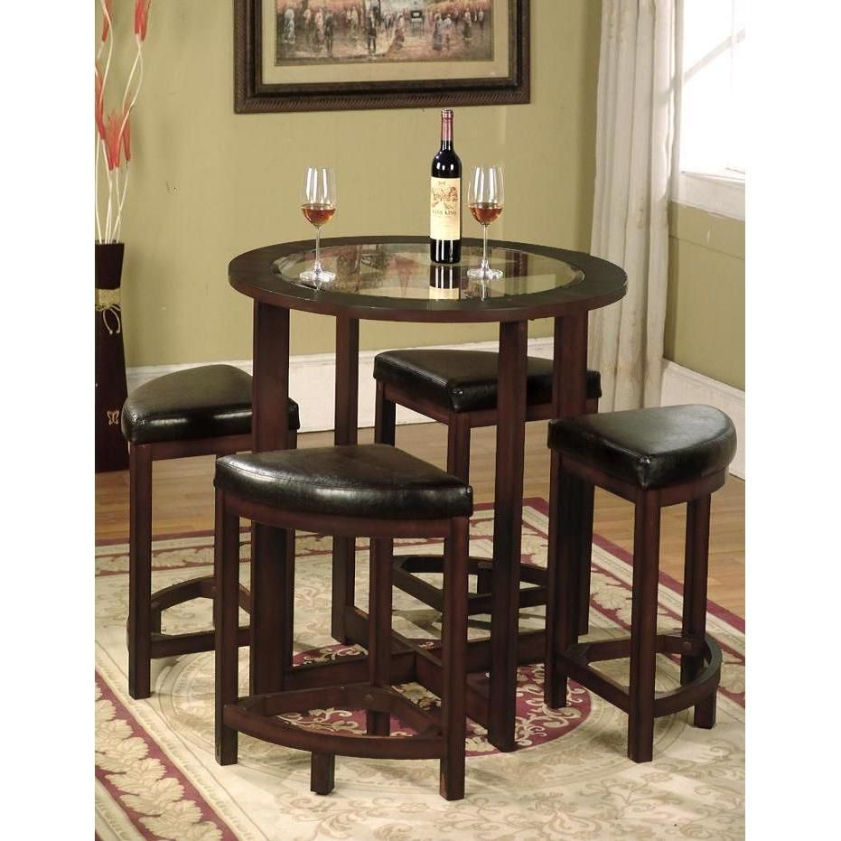 5 Piece Round Counter Height Dining Set In Solid Wood With Glass
