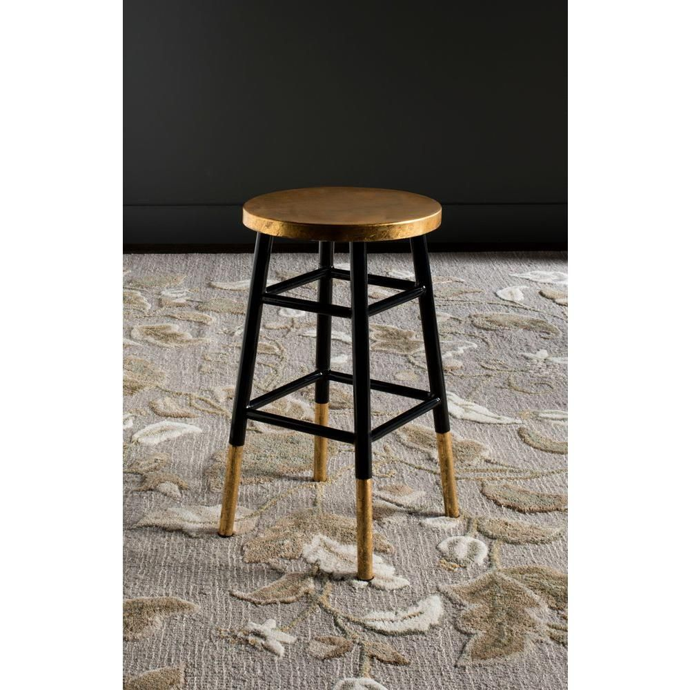 Safavieh Emery 24 In Black And Gold Bar Stool