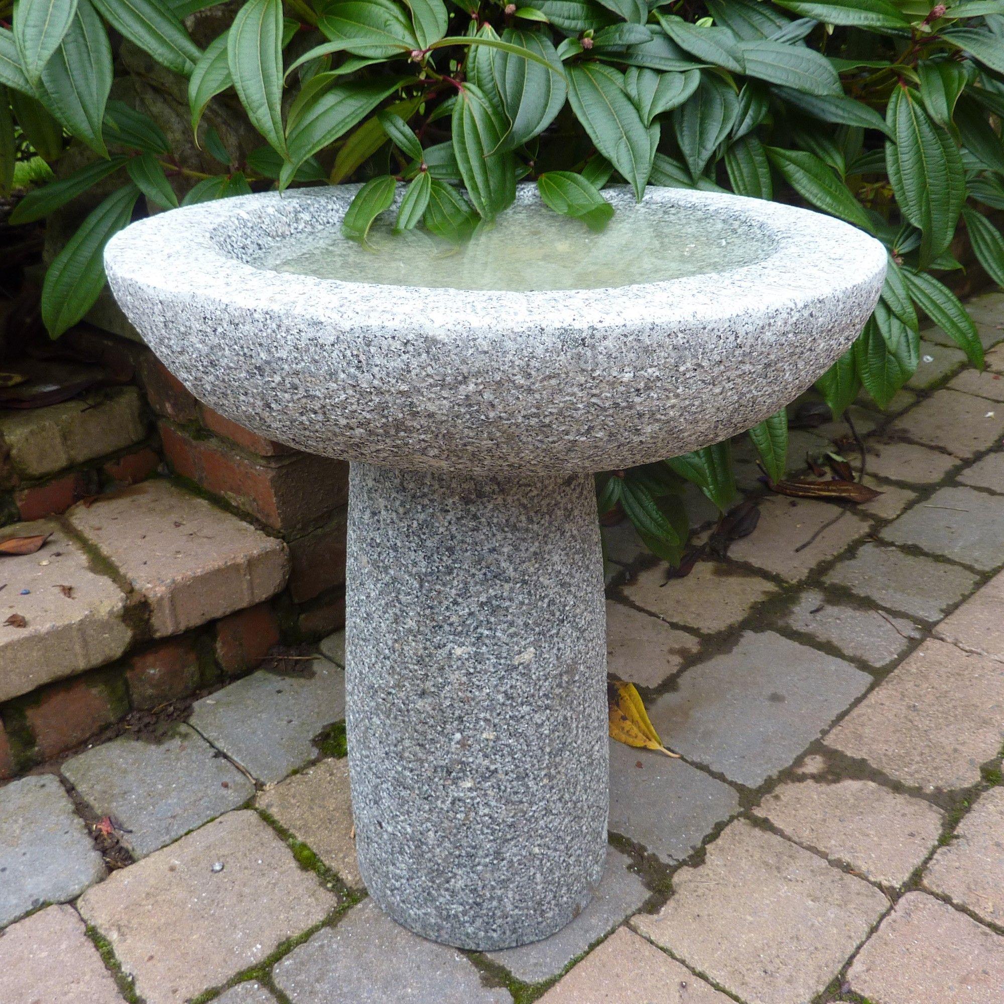 Granite bird bath