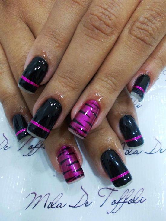 Pink Black Zebra Print Stripes Finger Nail Design Nail Art