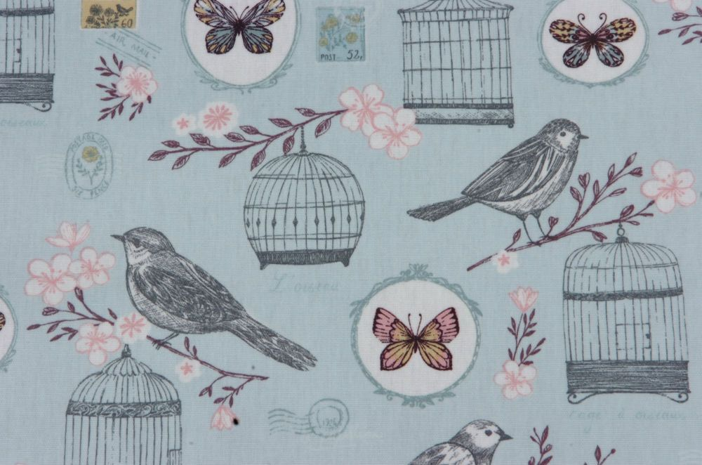 BIRD CAGE MELODIE DUCK EGG  PVC WIPE CLEAN OILCLOTH TABLECLOTH click for sizes