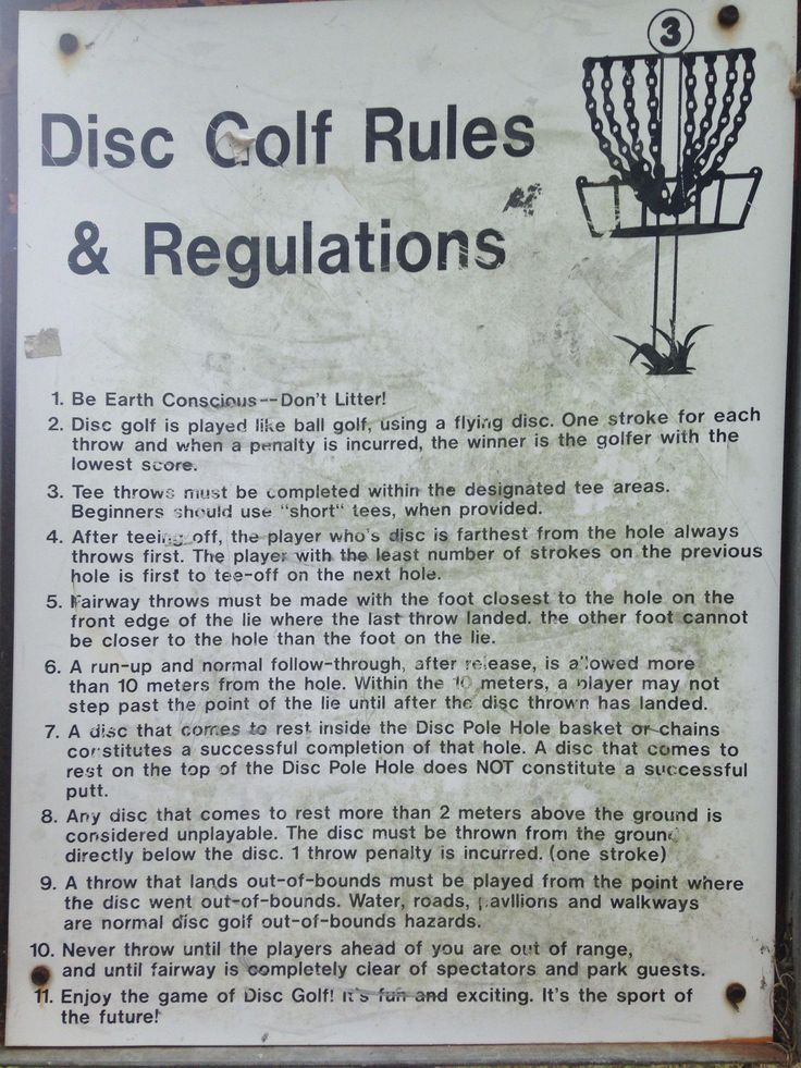 Disc Golf Rules and Regulations at Cliff Stevens Park Disc