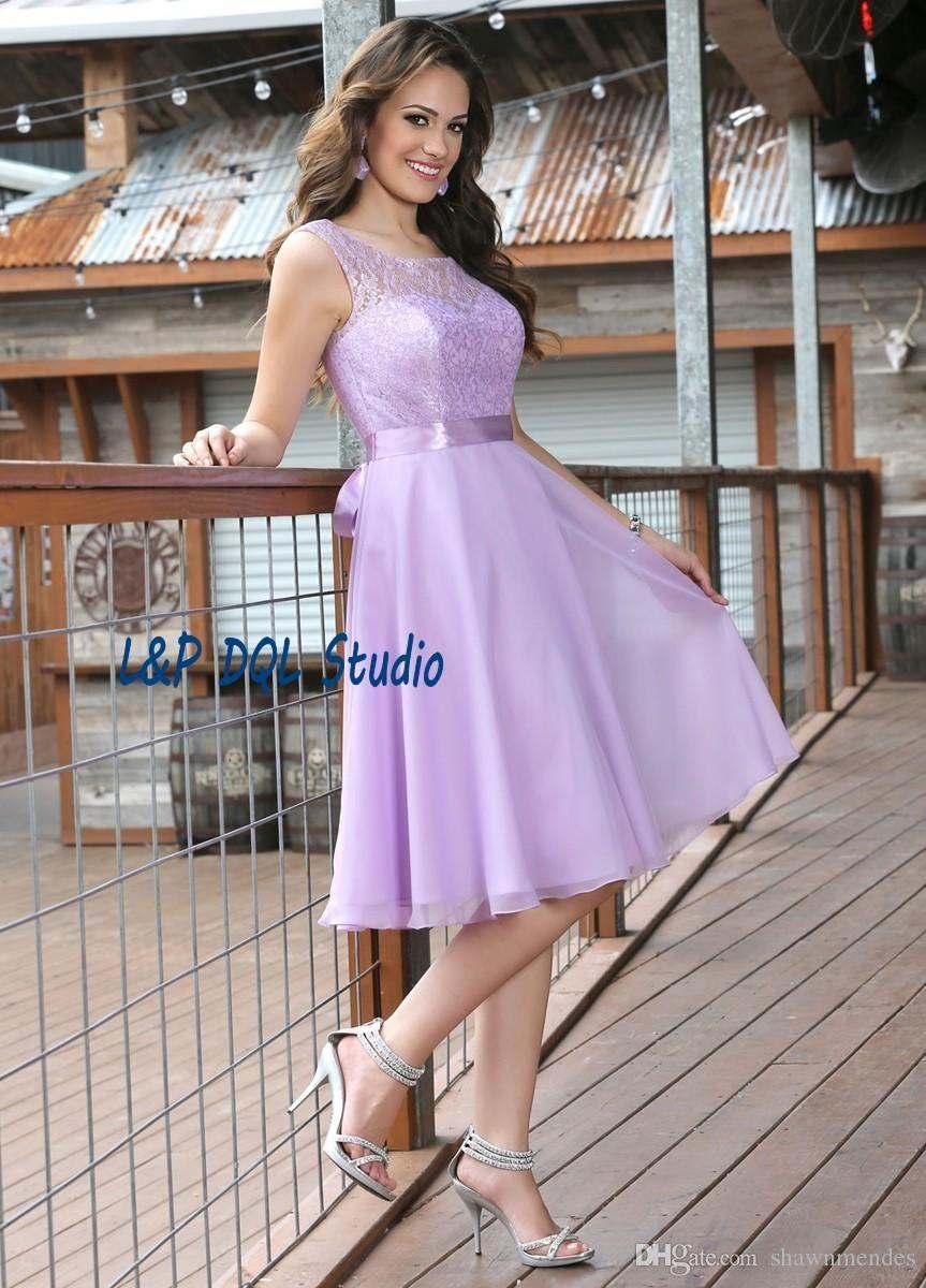 Lilac Bridesmaid Dresses Lace Wedding party Dresses Scoop Zipper ...