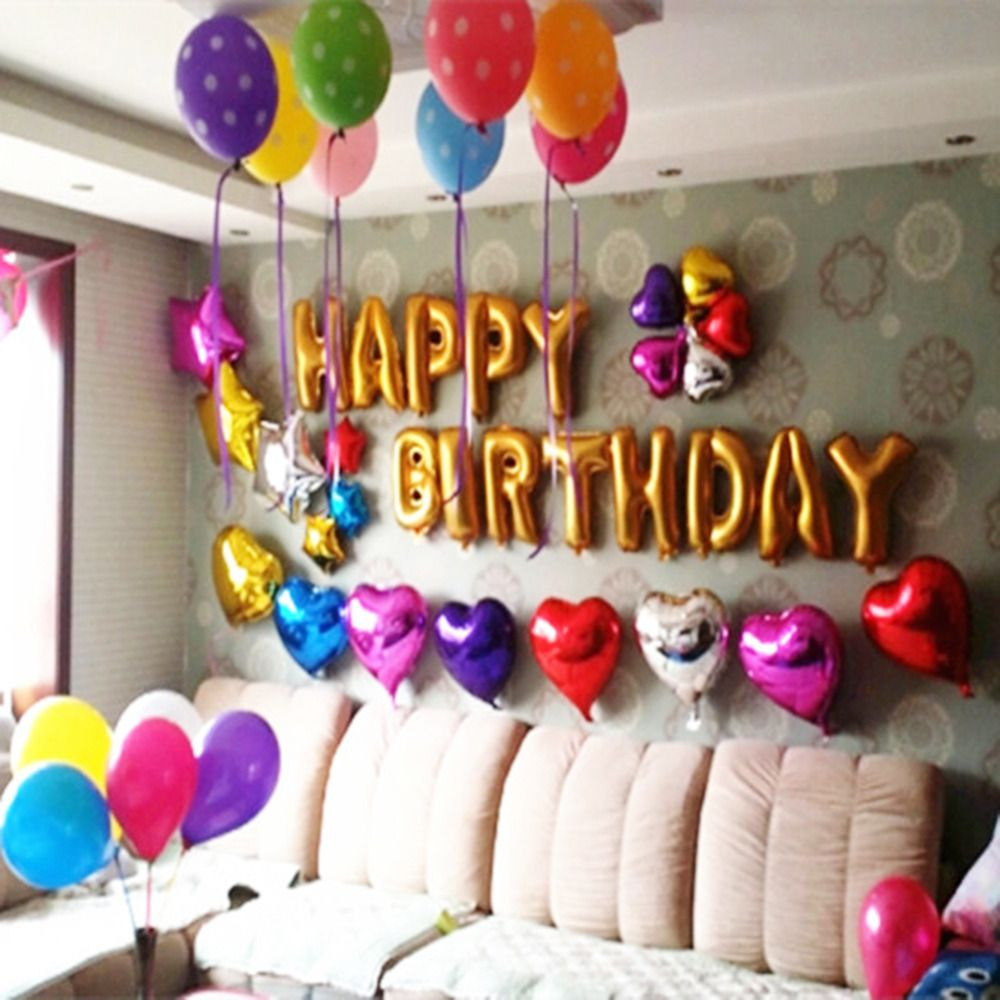 Birthday party decorations at home birthday decoration for Balloon birthday decoration