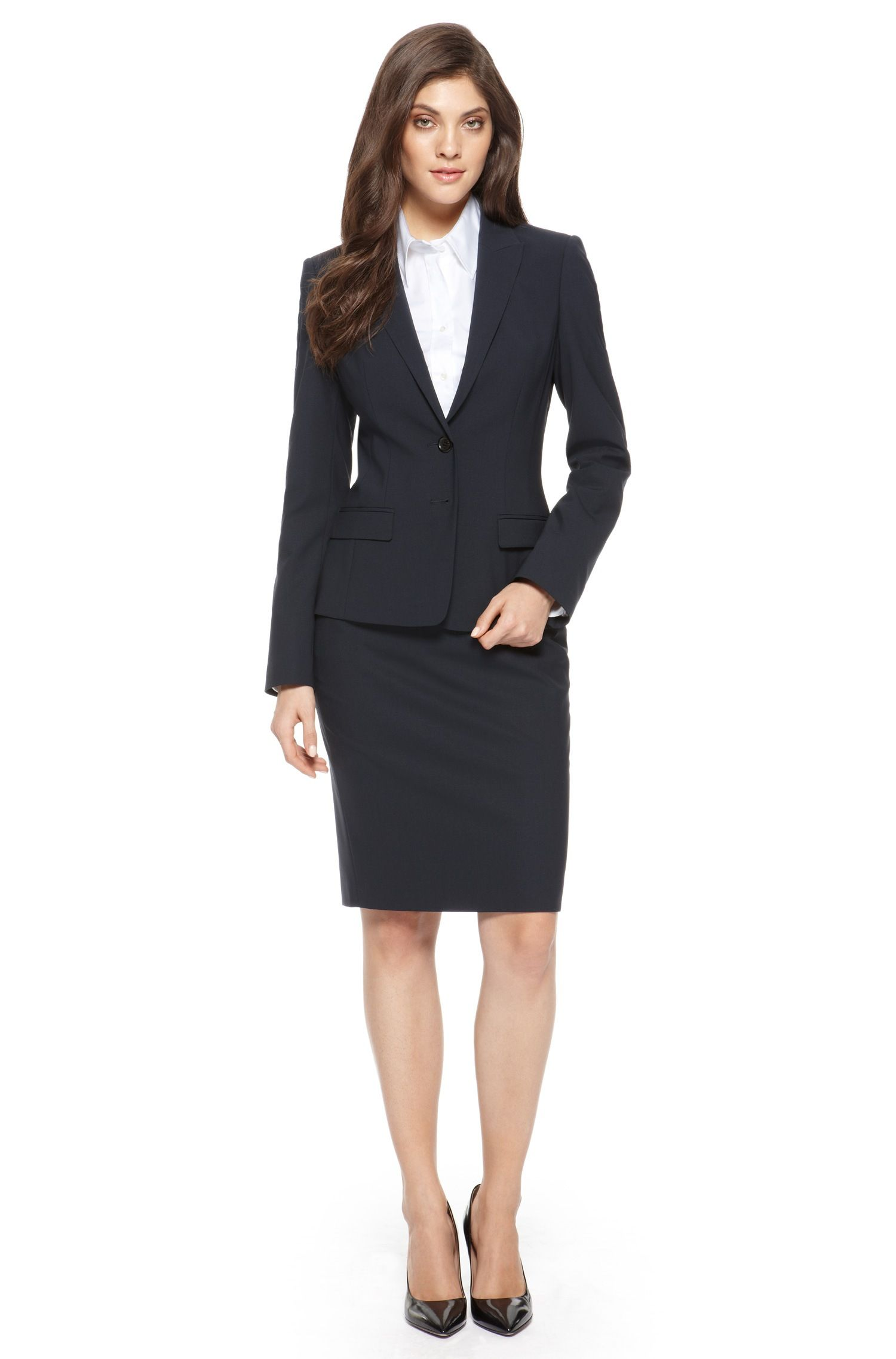 aa019a87d BOSS Stretch-Wool Navy Skirt Suit