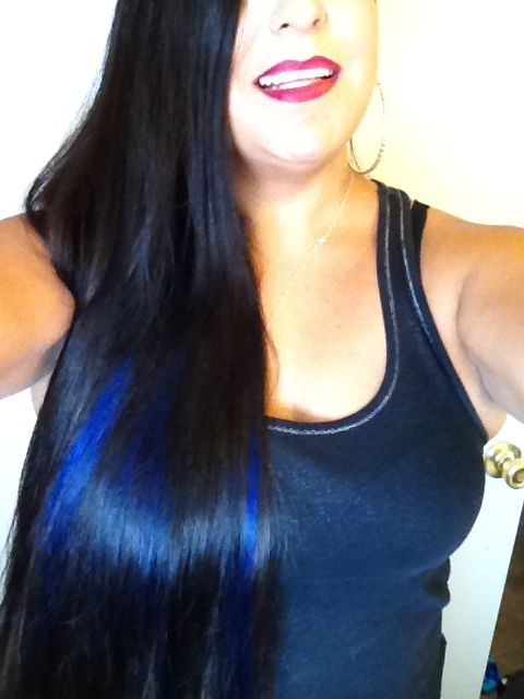 Blue Streaks Black Hair Pretty Hairstyles Hair Styles Hair