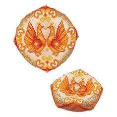 Biscornu coussin de mariage - riolis 1474ac - kit broderie point de croix compté - boutique decoloisirs