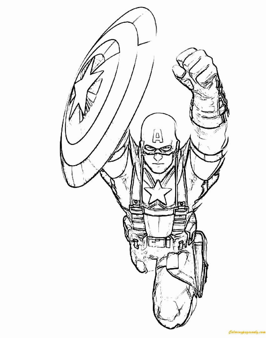 Captain America Shield Coloring Page New Captain America Flying Shield Coloring P In 2020 Captain America Coloring Pages Cartoon Coloring Pages Avengers Coloring Pages