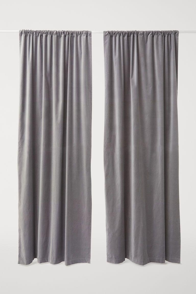 2 Pack Velvet Curtain Panels Light Gray Home All H M Us Grey Velvet Curtains Panel Curtains Curtains