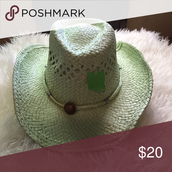 Light Green Straw Cowboy Hat Very cute light green lightweight cowboy hat.  Instead dimensions are 631a5f7c565c