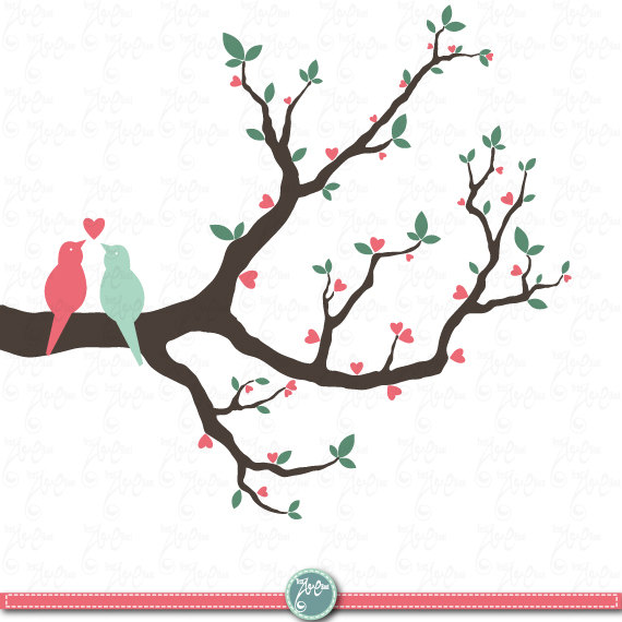 Wedding Tree Watercolor Clipart: You Will Receive 12 Beautifully Rendered Separate PNG