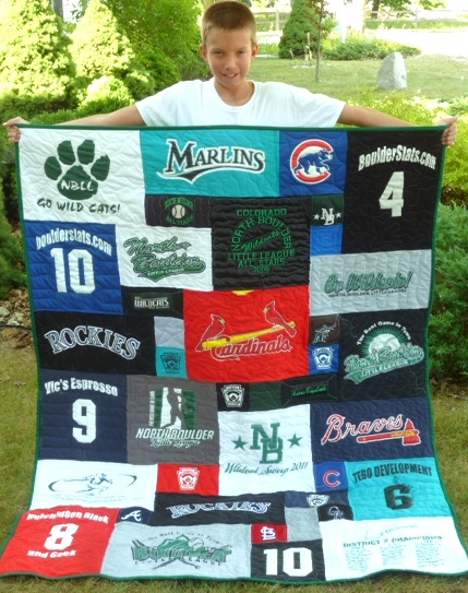 Baseball tshirt quilt - will definately be having one of these made with all of Ryan's jerseys and tournament tshirts !!