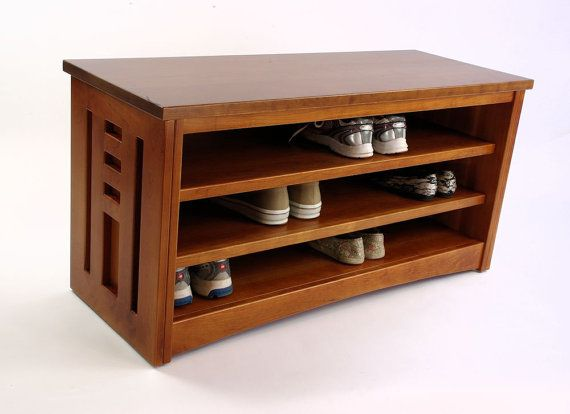 Vista Shoe Storage Bench In Cherry Tall Made In Usa By Woodistry 749 00 Bench With Shoe Storage Wood Shoe Rack Wooden Shoe Racks