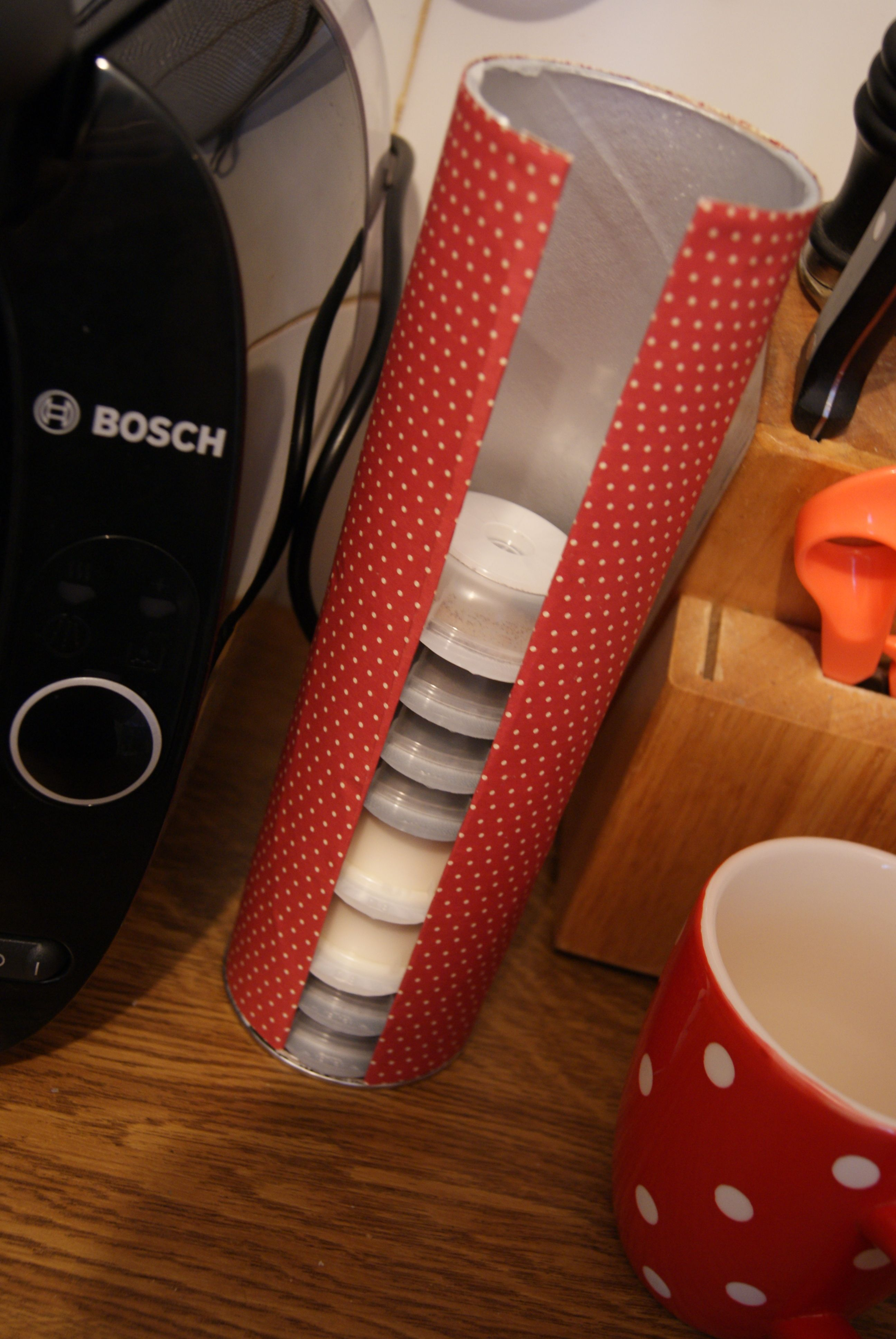 Diy tassimo pod holder made with a pringles tube and pretty paper