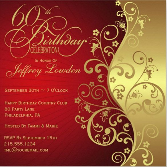 60th Birthday Invitation Template u2013 19 + Free PSD, Vector EPS, AI - free invitation template downloads