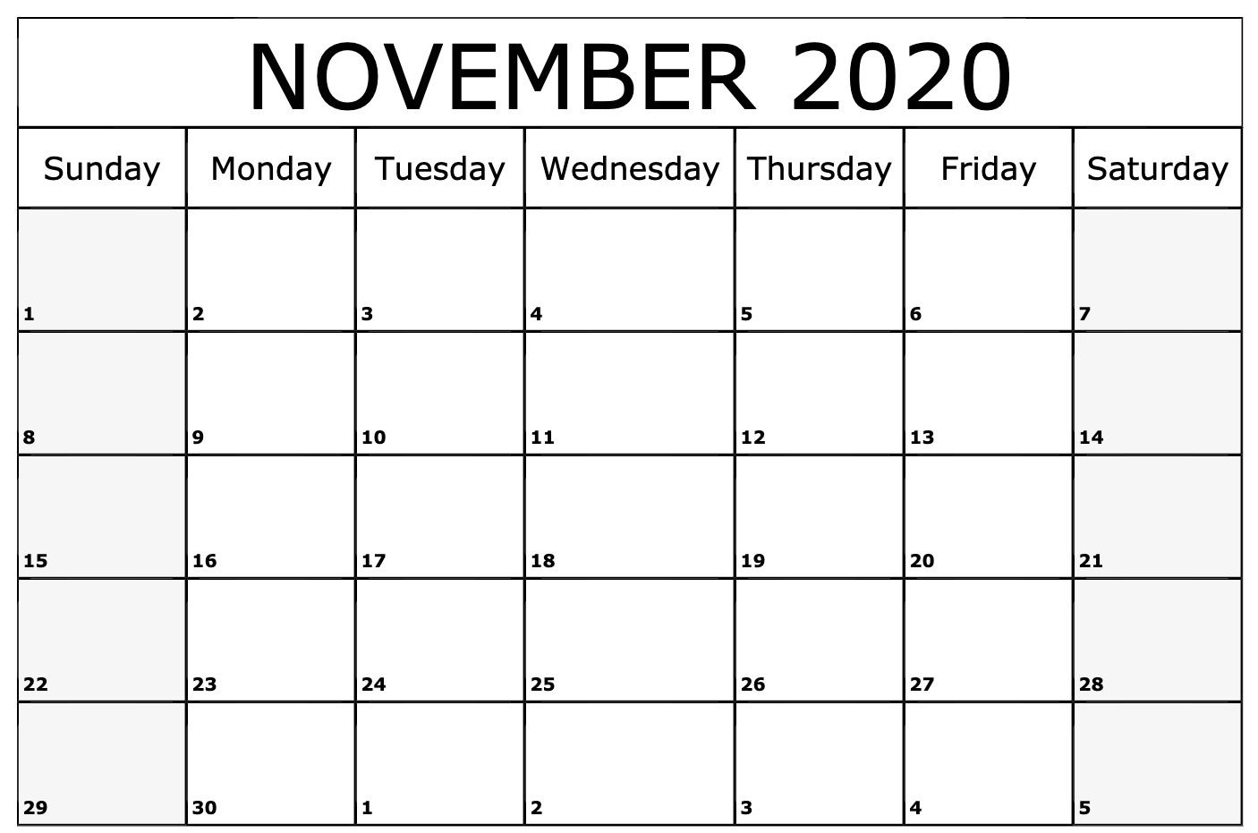 November 2020 Calendar Printable Template Monthly Calendar Template Monthly Calendar Printable Calendar Printables