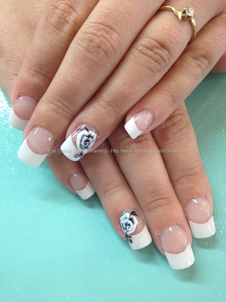 White tips with one stroke freehand rose nail art | Manucure ...