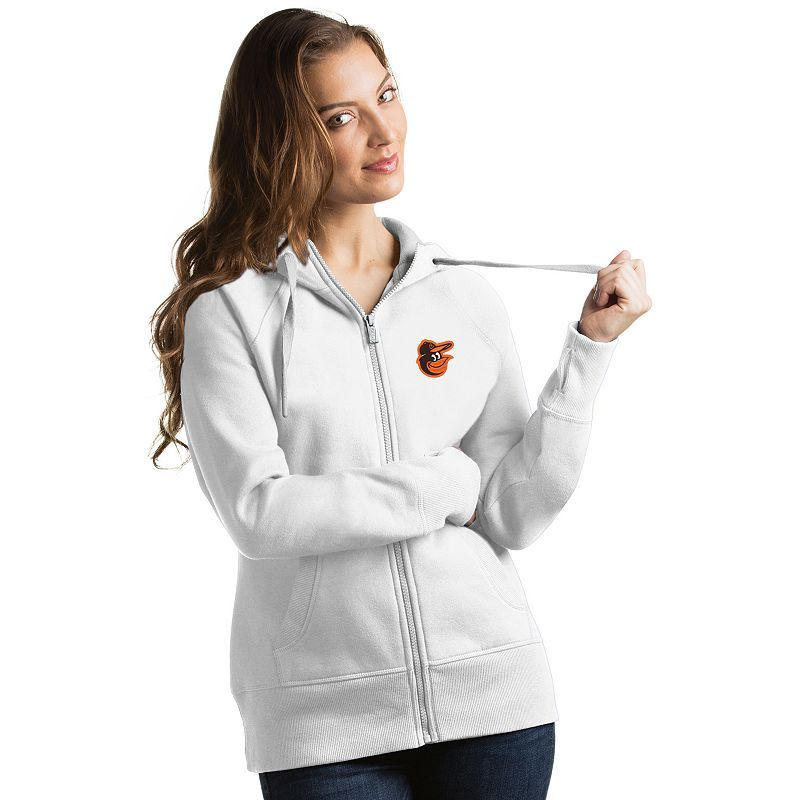 Women's Antigua Baltimore Orioles Victory Full-Zip Hoodie, Size: Medium, White