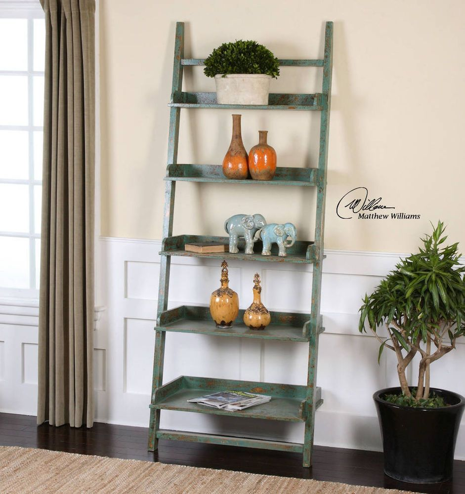 Shabby French Country Style Leaning Bookshelf Ladder Design Reclaimed Wood Estante Inclinada De Livros