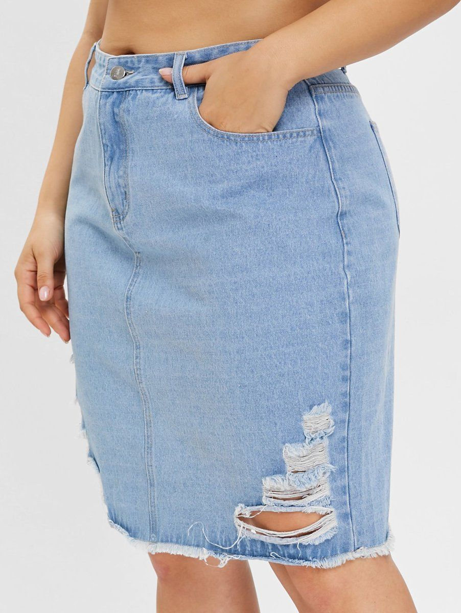 6ac0780ab9 Zipper Fly Ripped Denim Skirt Available in sizes 14-24 Use code PinIt15 at  checkout for 15% off your first order of $25 or more