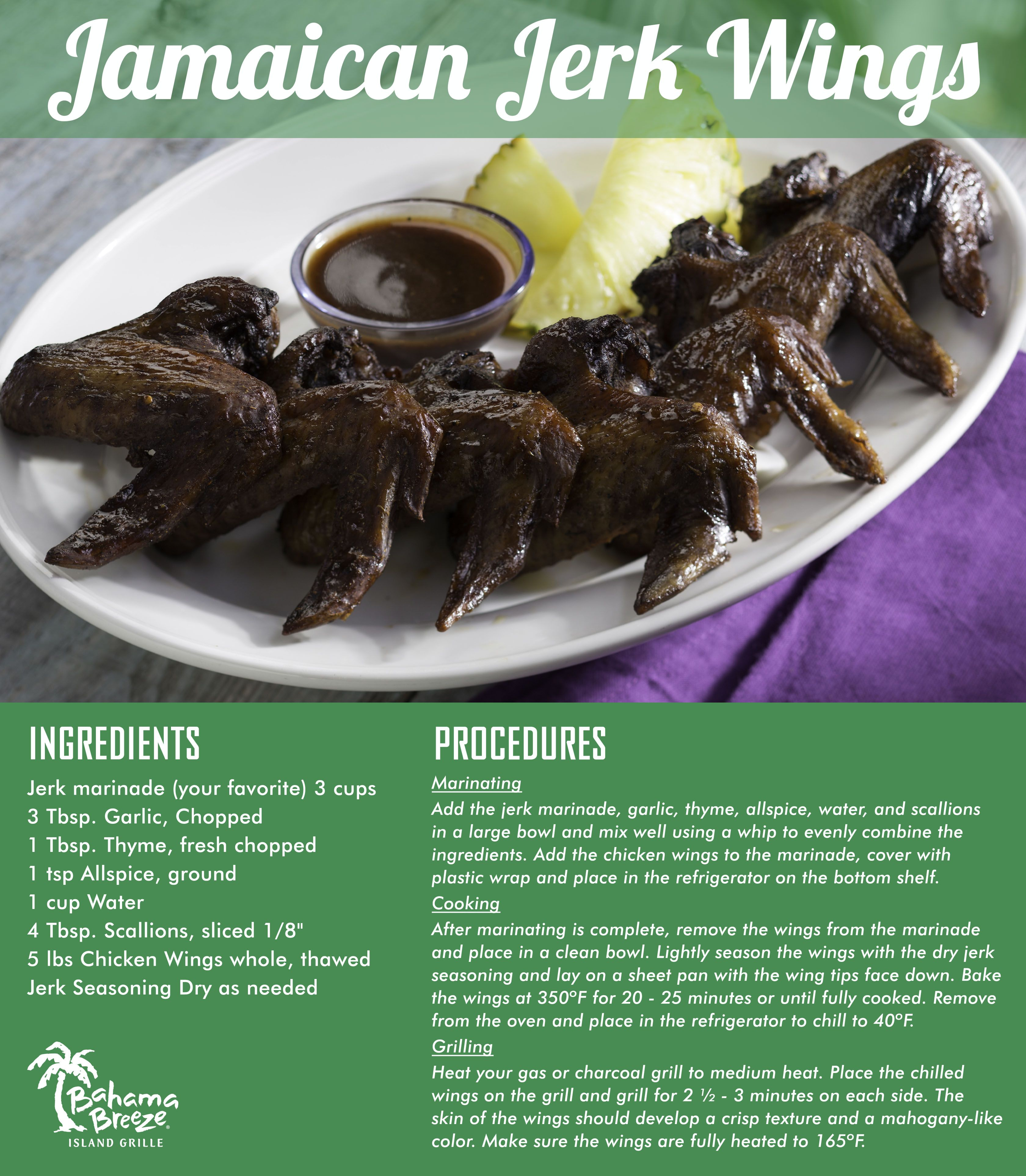 Bahama Breeze Jamaican Jerk Chicken Wings This Recipe Will Become A Grilling Staple Jerk Chicken Wings Recipes Jamaican Dishes