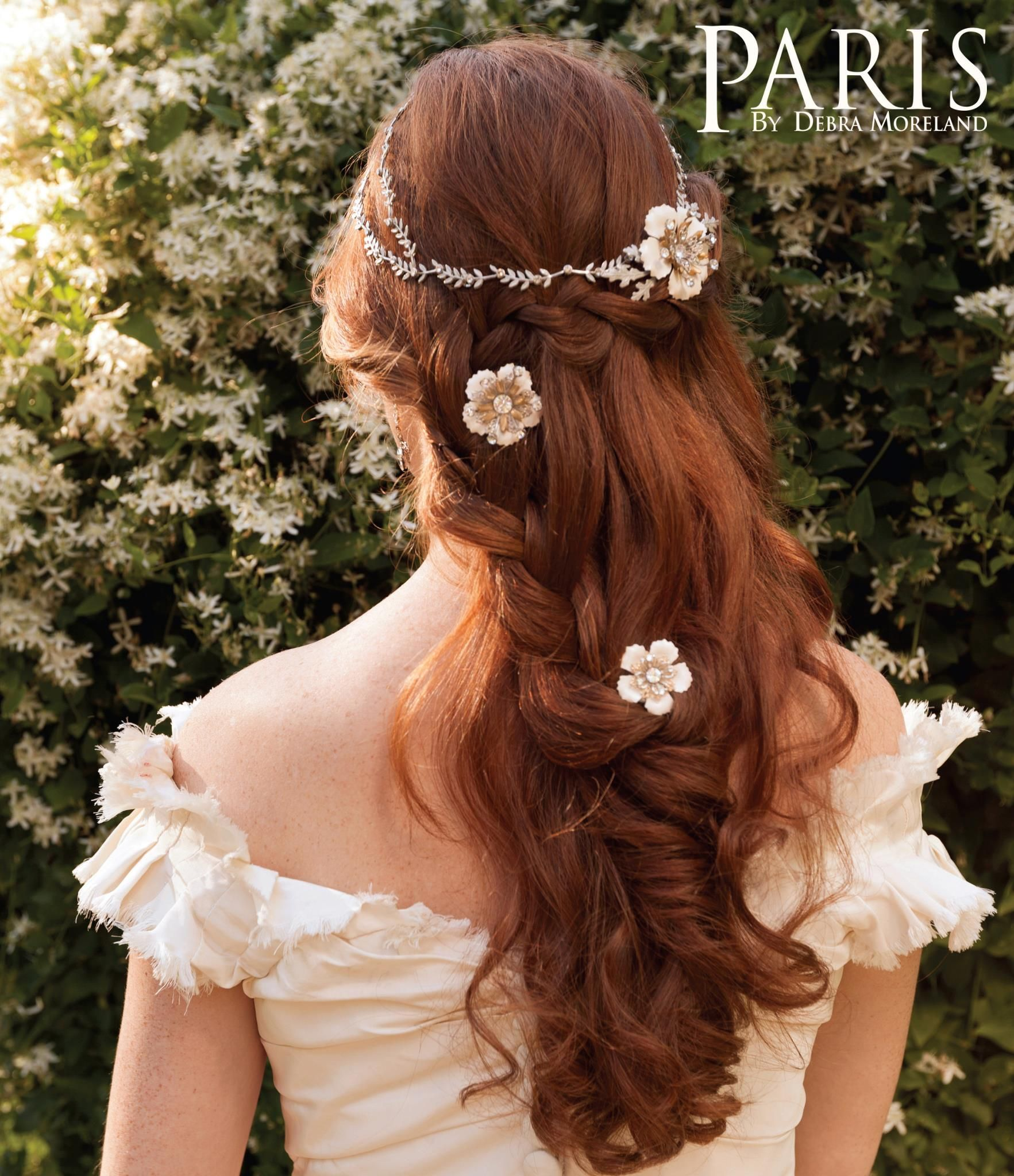 half-up half-down braid wedding hairstyle with hair jewelry - kind of a bohemian bride thing from parisstyles.com