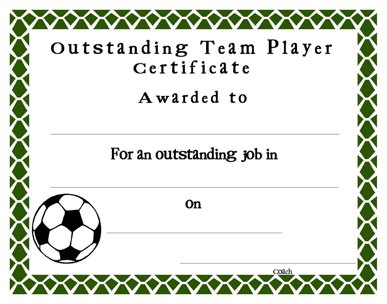 Soccer Certificate Templates Blank