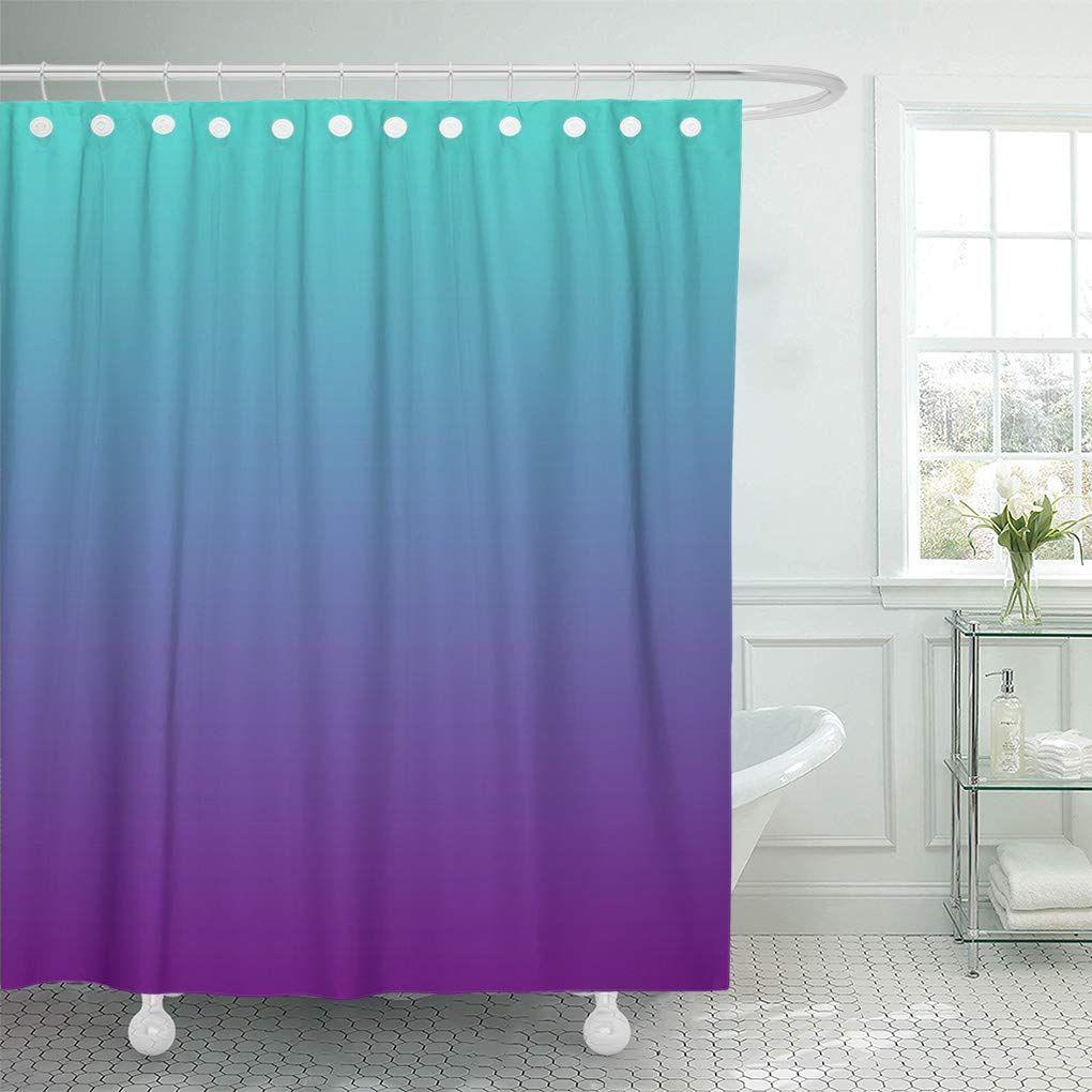 Cynlon Colorful Gradient Turquoise Purple Ombre Bathroom Decor Bath Shower Curtain 60x72 Inch Walmart Com Purple Bathroom Decor Turquoise Bathroom Decor Purple Ombre Shower Curtain