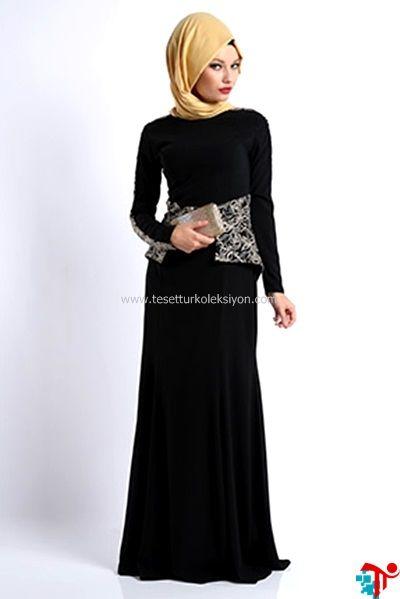 c7a6b2699a94c 2015 Tesettür Bel İşlemeli Volanlı Elbise   Kayra   Armine   Setrms   Aker    Alvina