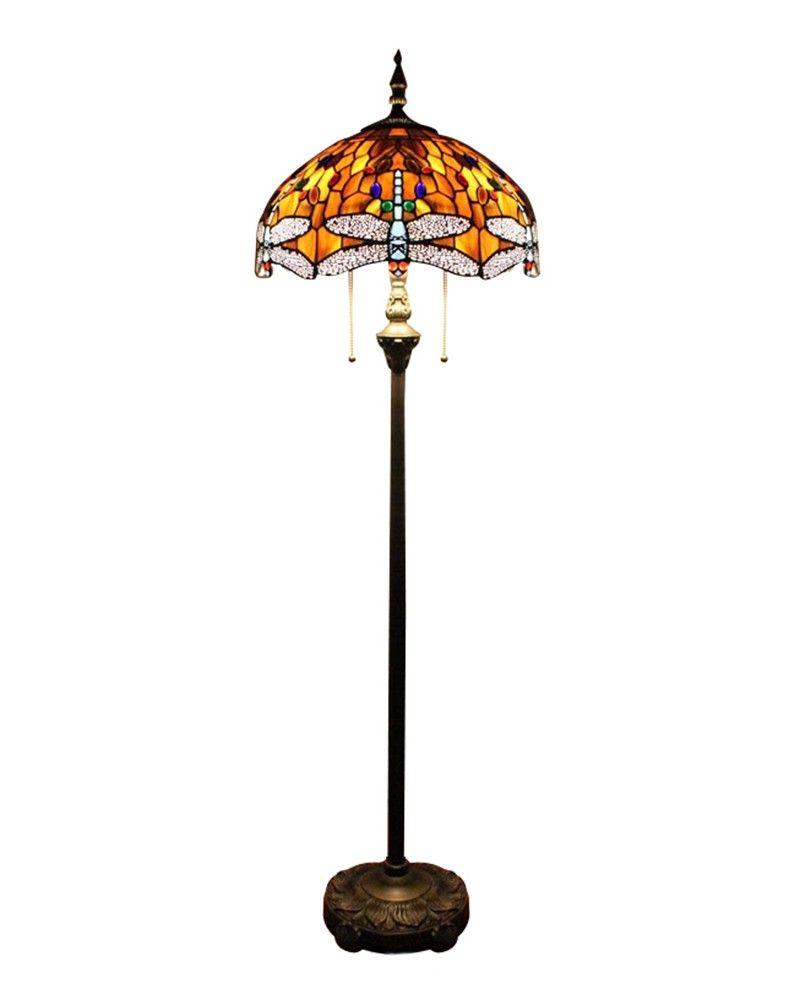 Orange Copper Tiffany Style Floor Lamp