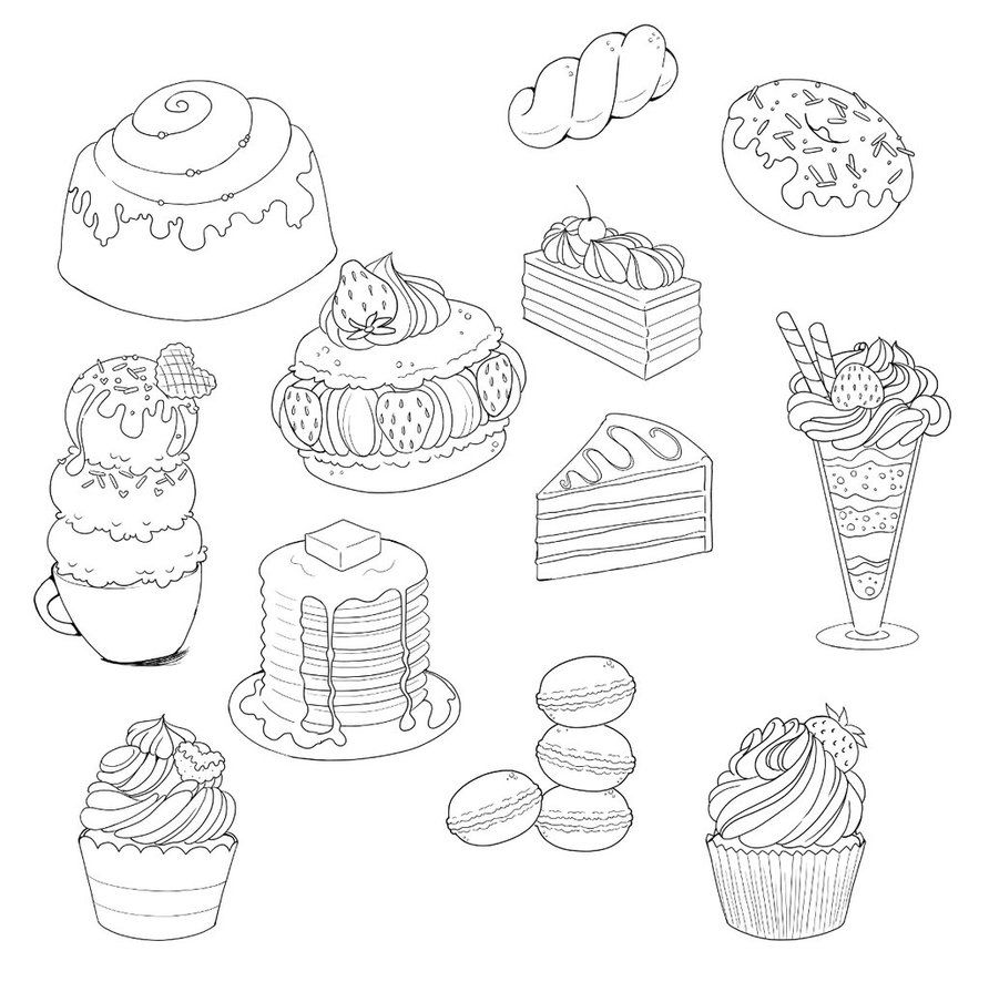 Sweets And Desserts Doodle Compilation By Yampuff Whimsical Art Drawings Cute Food Drawings Candy Coloring Pages